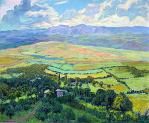 Paisaje Serrano . óleo sobre lienzo . 120x144cm . 1956