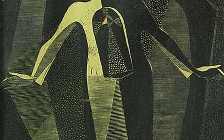 La Esperanza . xilografía y acuarela . 33x20cm. 1956