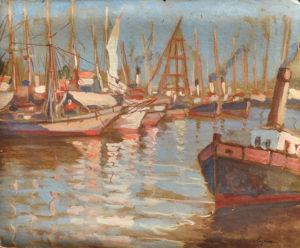 Puerto de Buenos Aires . gouache sobre cartón . 35x43cm . 1945