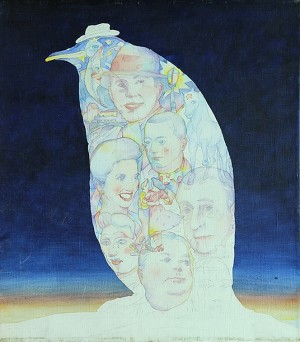 Los Idolos . acuarela sobre papel . 40x35cm . 1999