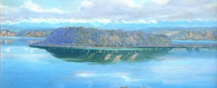 Paisaje Lacustre con Casas . óleo sobre cartón . 26x35cm . 1890