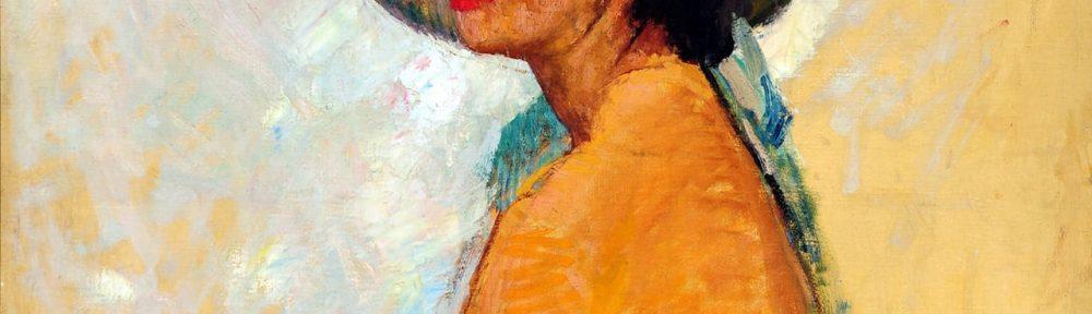 Mujer con Sombrero . óleo sobre lienzo . 83x84cm . 1937