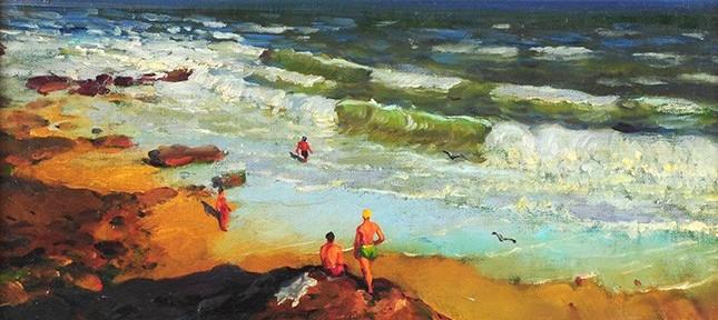 En la Playa . óleo sobre lienzo . 35x45cm . 1959