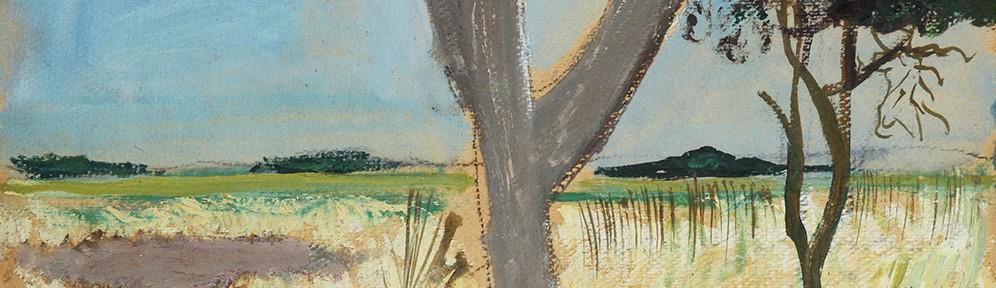 Paisaje de Tandil, óleo sobre cartón, 24x32 cm, 1974