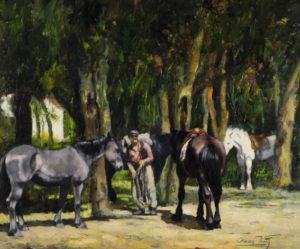"""Oscar Vaz """"Caballos en la Playa"""", óleo sobre lienzo, 50x60 cm, 1975"""