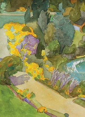 """Graciela Genovés, """" Camino de Retamas"""", acuarela sobre papel, 30x40 cm, 2005"""