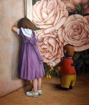 "Alicia Carletti ""Jugando a las Escondidas"", óleo sobre lienzo, 150x130 cm, 1994"
