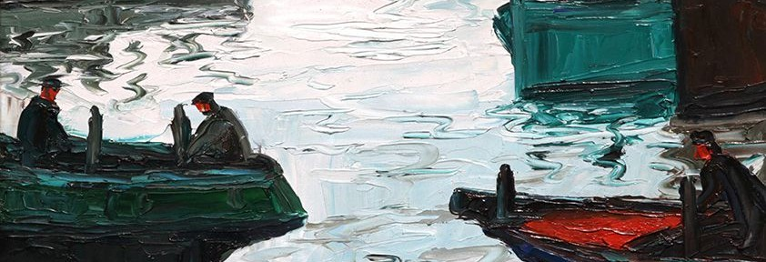 """Benito Quinquela Martín, """"Claridad en La Boca"""", óleo sobre lienzo, 60x70 cm, 1970"""