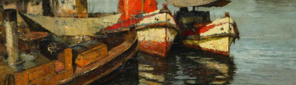 """""""Proas"""", óleo sobre lienzo, 105x130 cm, 1962"""