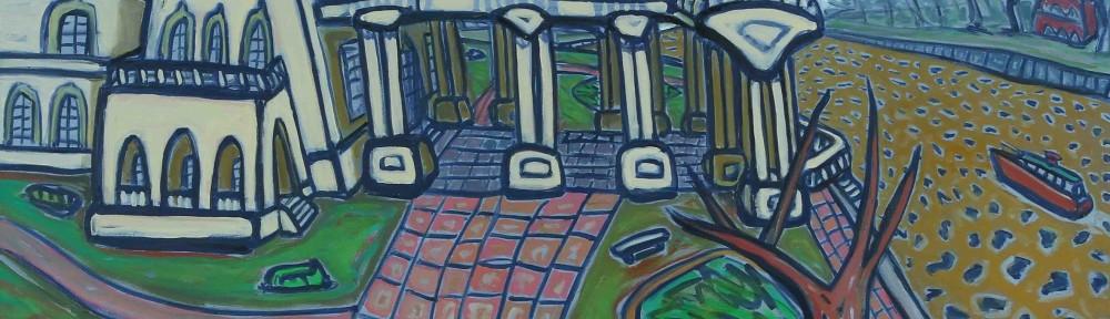 Río, Lancha y Museo . óleo sobre lienzo . 100x120cm . 2014