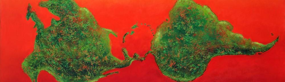 """Nicolás García Uriburu . """"Ni arriba ni abajo"""" . óleo sobre lienzo . 130x220cm . 1993"""