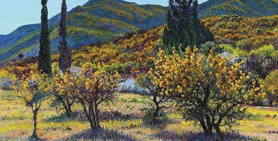 Cipreses y Aromos . óleo sobre lienzo . 80x110cm . 2014