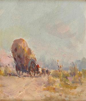 """Carlos de la Torre . """"Carro de Heno"""" . óleo sobre cartón . 13x11cm . 1914"""