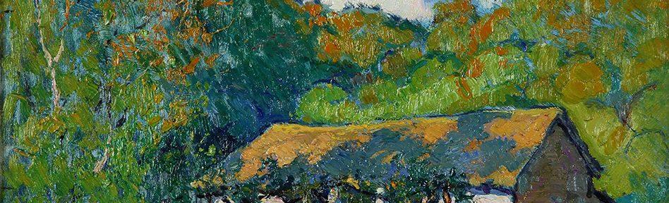 """Atilio Malinverno . """"Rancho en Salsipuedes"""" . óleo sobre cartón . 32x43cm . 1928"""