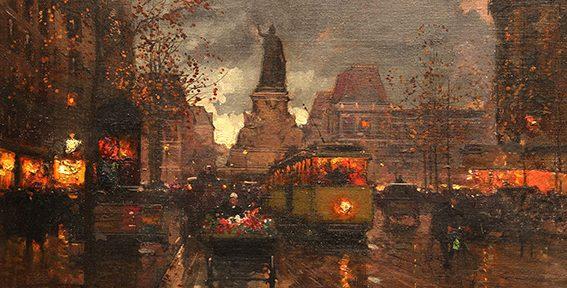 """Edouard Cortes. """"Place de la Republique, París"""". Óleo sobre lienzo. 33x46 cm. 1930"""