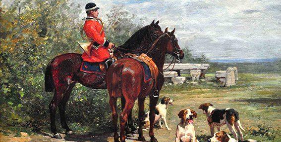 """Charles Olivier de Penne. """"De cacería"""". Óleo sobre tabla. 31x41 cm. 1880C"""