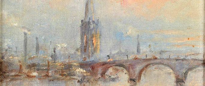 """Stephen Koekkoek . """"Thames, Londres"""" . óleo sobre lienzo . 16x22cm . 1920"""