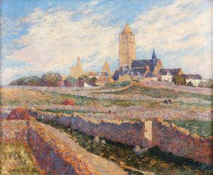 """Ferdinand Loyen Du Puigaudeau. """"L'eglise des Mûrier et l'eglise du Bourg de Batz"""". Óleo sobre lienzo. 60x73 cm. 1905C"""