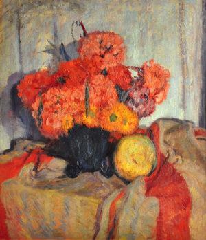 """Cesáreo Bernaldo de Quirós . """"Flores, Vicente López"""" . óleo sobre tabla . 70x60cm . 1955"""