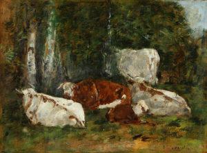 """Eugenio Boudin. """"Les vaches á Fervaques"""". Óleo sobre papel. 24x33 cm. 1860C"""