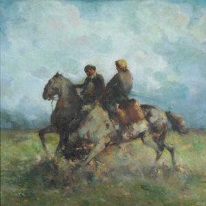 "Carlos Ripamonte . ""Coraje"" . óleo sobre lienzo . 100x100cm . 1941"
