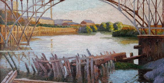 "Pío Collivadino . ""Puente Alsina"" . óleo sobre lienzo . 60x70cm . 1914"