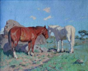 """Luis Cordiviola . """"Caballos"""" . óleo sobre lienzo . 45x55cm . 1923"""