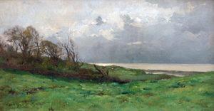 """Pierre Emmanuel Damoye. """"Paisaje Costero"""". Óleo sobre lienzo. 43x81 cm. 1887"""