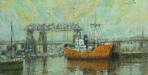 """Jorge Dándolo. """"Frente al Puente"""". Óleo sobre hardboard. 24x30cm. 2008"""