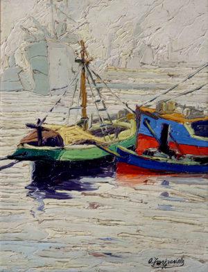 """Osvaldo Imperiale. """"Barcas en el Riachuelo"""". Óleo sobre tabla. 40x31cm. 1936"""