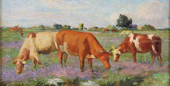 Vacas, óleo sobre tabla, 21x37cm.