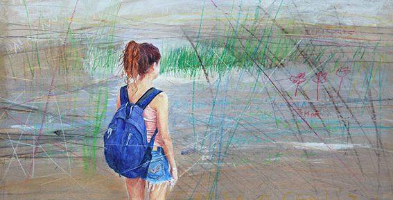 "Silvana Robert, ""Esteros"", óleo sobre tabla, 42x64cm, 2014."