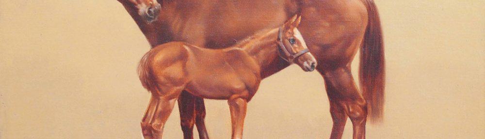 Enrique Castro, Yegua y Potrillo, óleo sobre lienzo, 40x50cm, 1980.