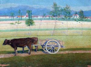 Carreta tirada por Bueyes, Italia . óleo sobre lienzo . 91x121cm . 1925