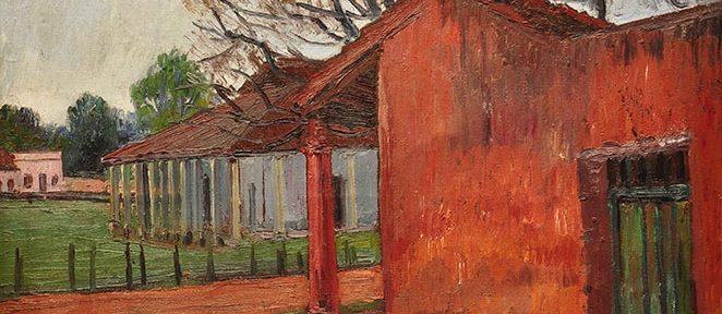 Esquina de Pueblo . óleo sobre lienzo . 54x76cm . 1965