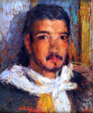 Cesáreo Bernaldo de Quirós . Patroncito . óleo sobre cartón . 30x25cm . 1958
