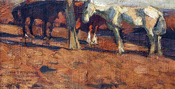 Fernando Fader . Mancarrones . óleo sobre lienzo . 36x45cm . 1906
