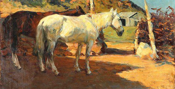 Fernando Fader . Caballos al Sol . óleo sobre lienzo . 70x100cm . 1906