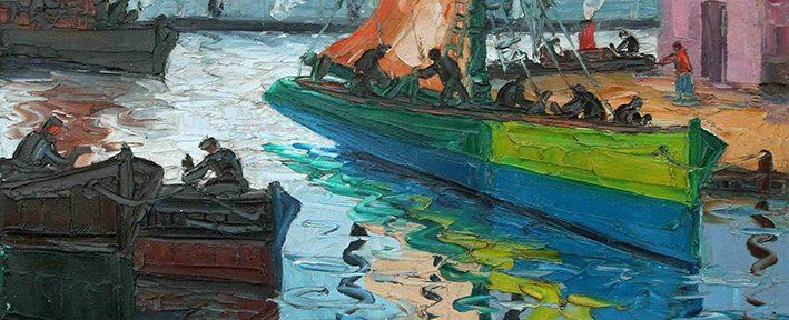 Benito Quinquela Martín . Velero Iluminado . óleo sobre tabla . 50x60cm . 1952