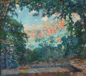 Cesáreo Bernaldo de Quirós . Deya Florida, Mallorca .óleo sobre lienzo . 75x85cm . 1913