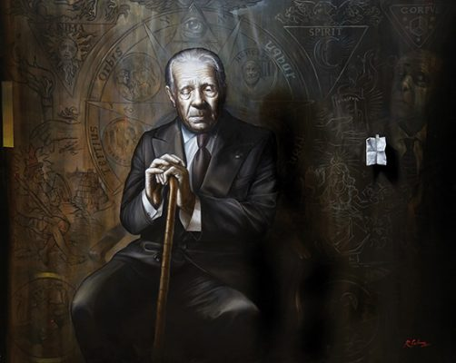 El otro Borges, óleo sobre lienzo, 127x158cm, 2017.