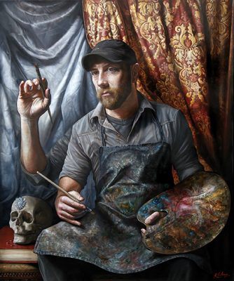 Autorretrato post-contemporáneo, óleo sobre lienzo, 100x83cm, 2017.