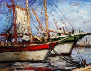 Barcas - Óleo sobre tabla - 36 x 45cm. - 1930