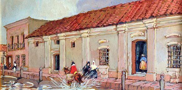 Después de la lluvia, Plaza de Mayo, Buenos Aires, Gouache, 27x35cm, 1919.