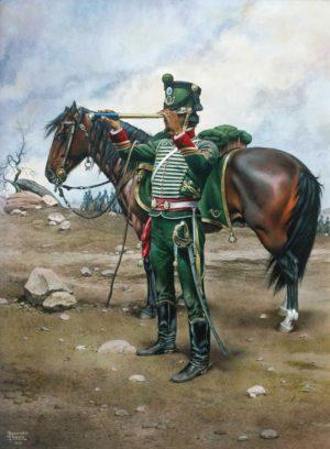 """Rodolfo Ramos. """"Oficial de cazadores"""", acuarela sobre cartón, 41x34cm, 1995."""