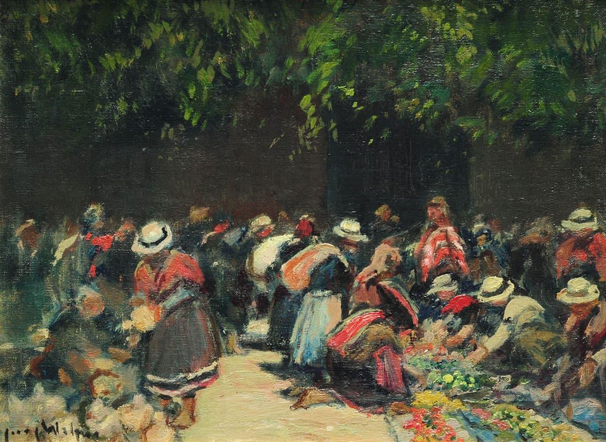 """Jacques Witjens, """"Mercado Coya"""", 30x40cm, óleo sobre cartón, 1940."""