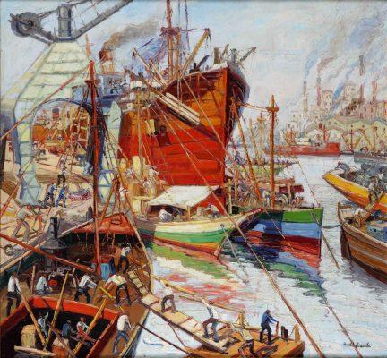 Osvaldo Imperiale . Actividad en el Riachuelo . óleo sobre lienzo . 130x140cm . 1939
