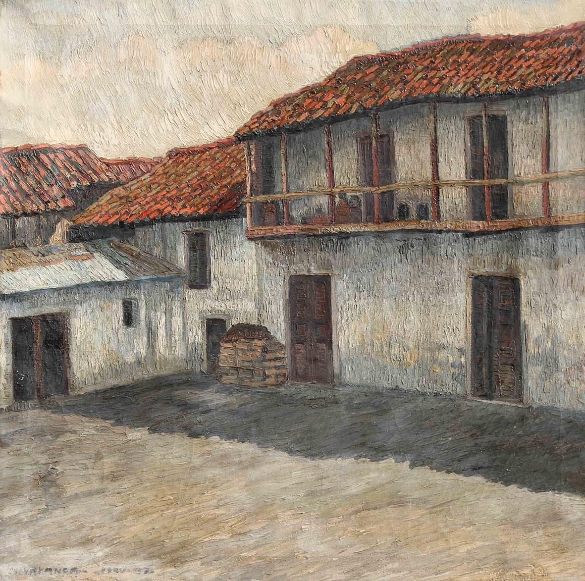 """José Malanca, """"Patio Colonial del Perú"""", 76x76cm, óleo sobre lienzo, 1937."""