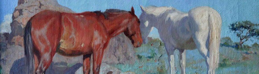 """Luis Cordiviola, """"Caballos"""", 45x55cm, óleo sobre lienzo, 1923."""