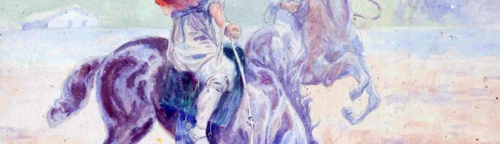 Martín Malharro . El Domador . acuarela sobre papel . 61x44cm . 1908